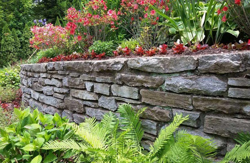 Landscape around stone retaining walls