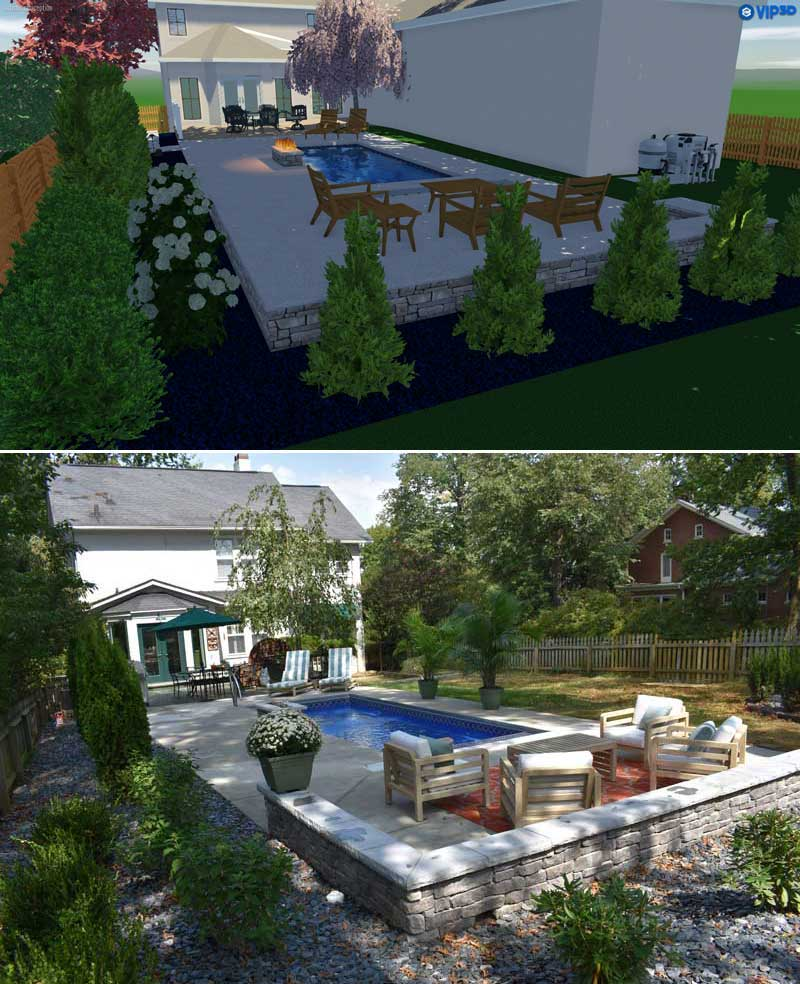 Before and after picture of Derby City Pools Custom Patio and Pool Design