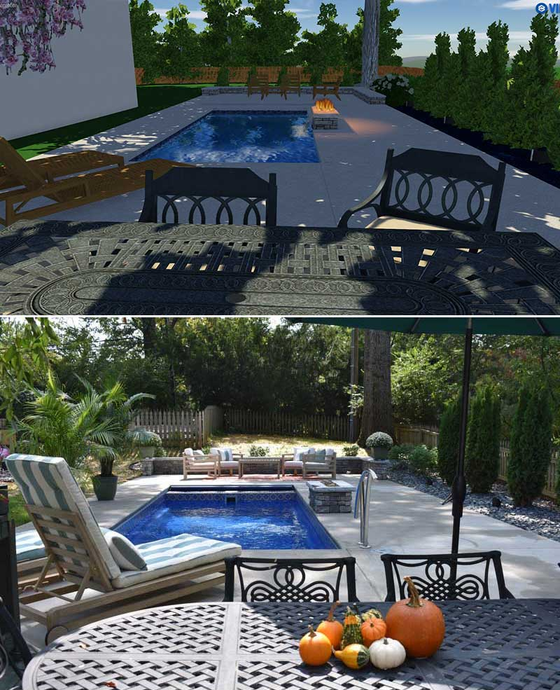Derby City Pools Before and after Custom Backyard and Pool Design with Fire Pit