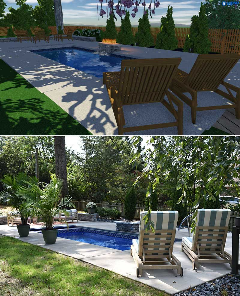 Before and after of Back Patio with pool, landscape and Fire pit redesigned