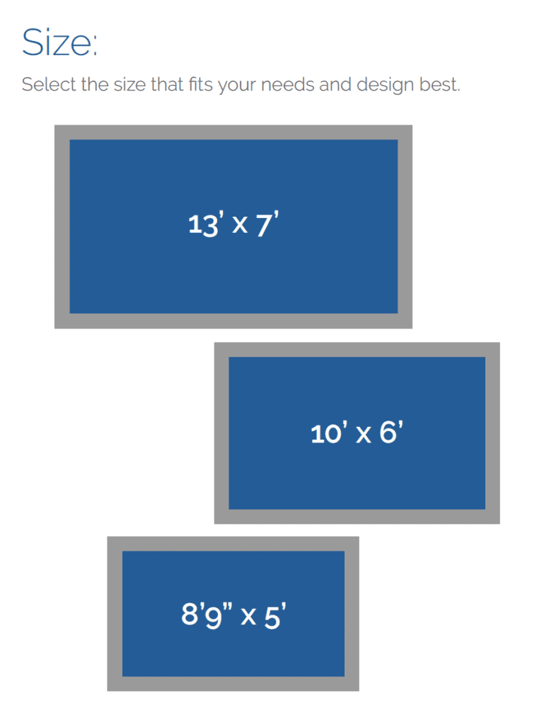 Size options for Soake cocktail pools, small, medium and large