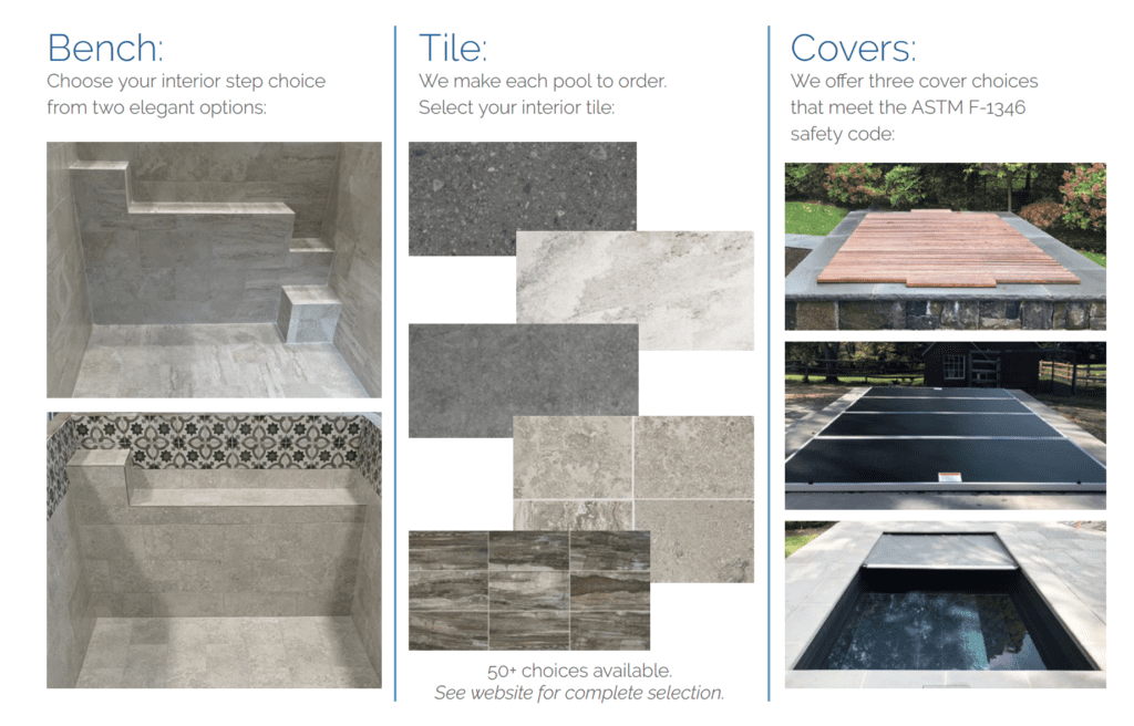 Examples of benches, tiles and covers for soake plunge pools